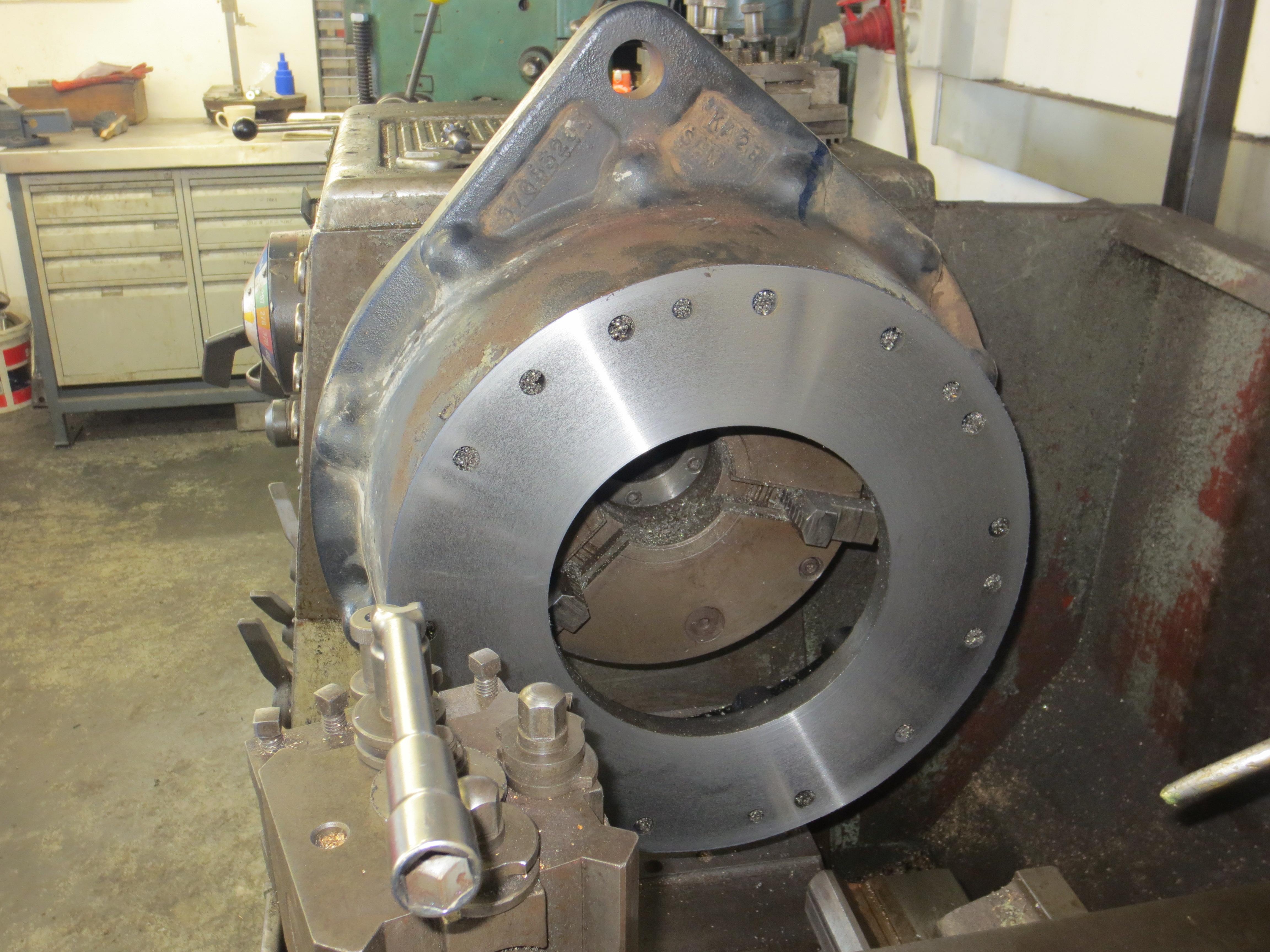 on lathe hub being machined