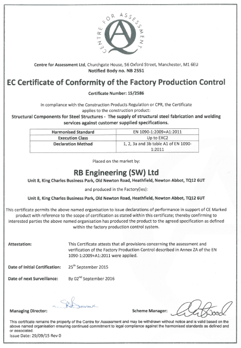 News rb engineering fabrication and welding devon rb engineering ce marking certificate yadclub Image collections